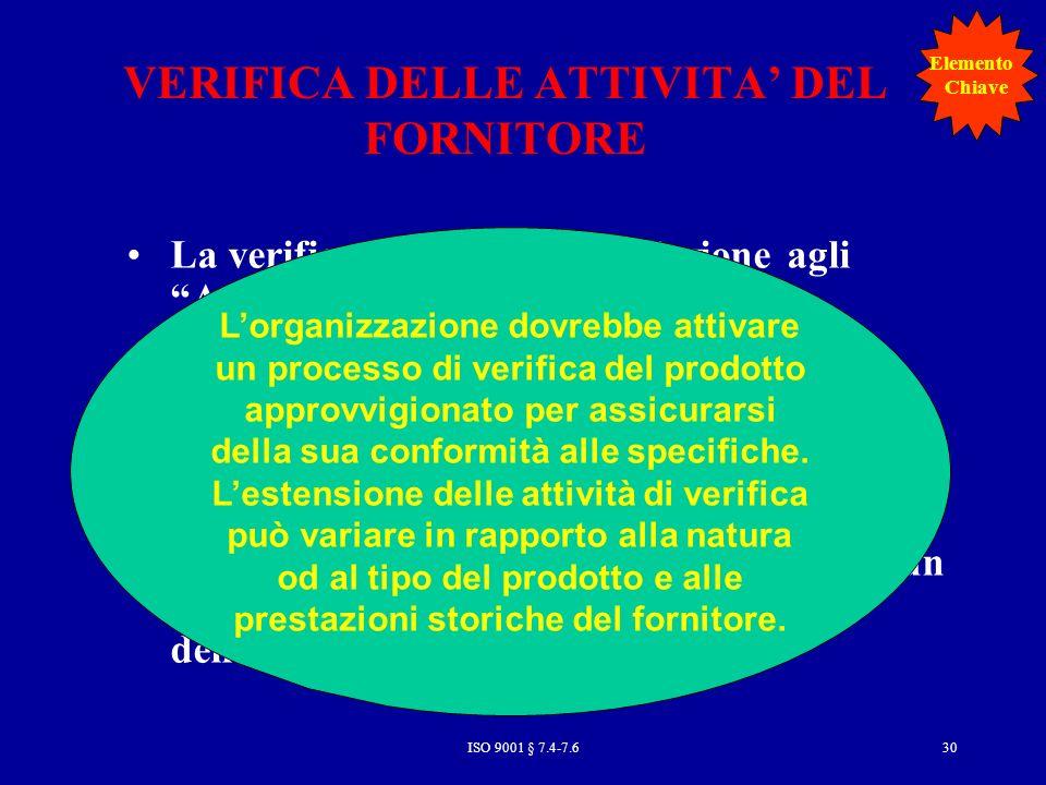VERIFICA DELLE ATTIVITA' DEL FORNITORE