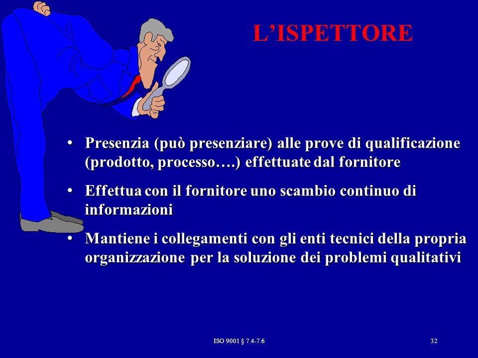 L'ISPETTORE Presenzia (può presenziare) alle prove di qualificazione (prodotto, processo….) effettuate dal fornitore.