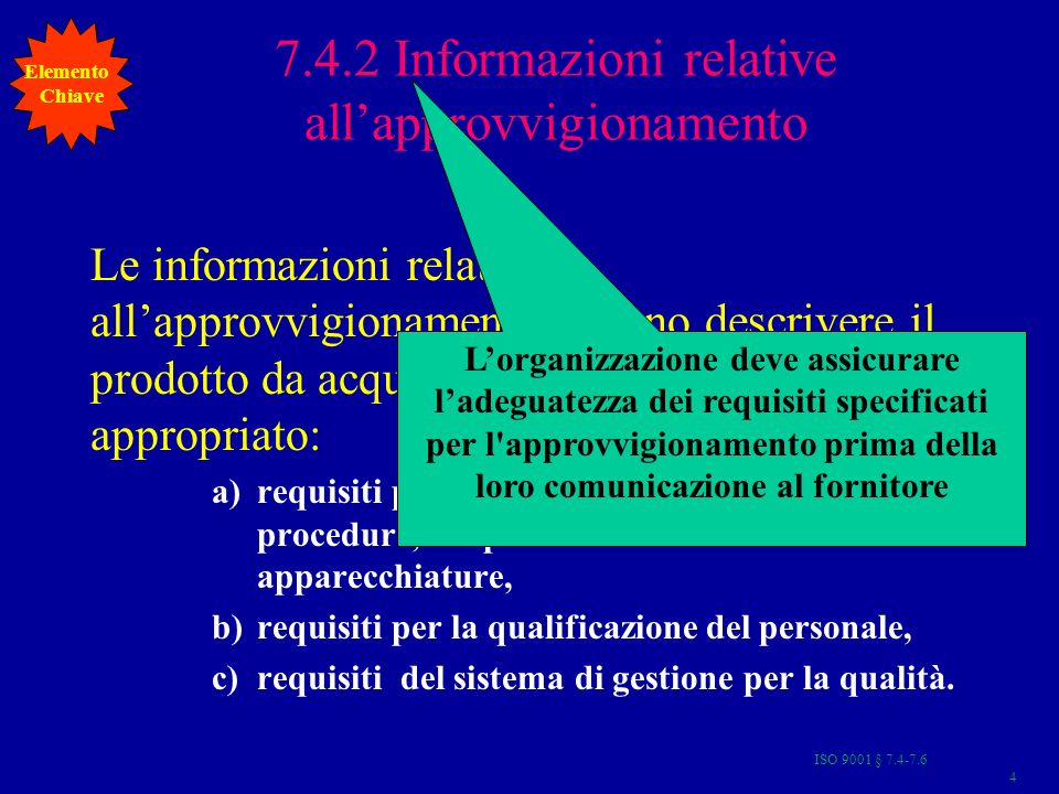 7.4.2 Informazioni relative all'approvvigionamento