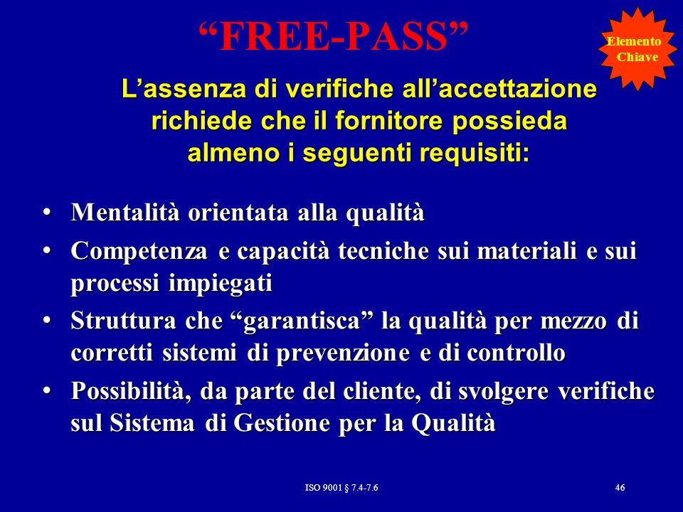 FREE-PASS Elemento. Chiave. L'assenza di verifiche all'accettazione richiede che il fornitore possieda almeno i seguenti requisiti: