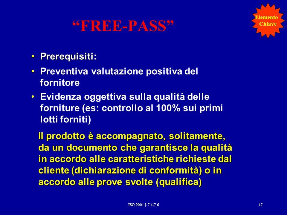 FREE-PASS Prerequisiti: