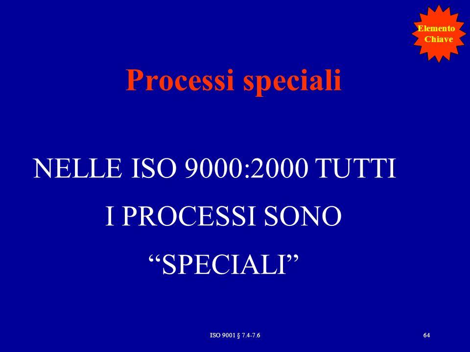 NELLE ISO 9000:2000 TUTTI I PROCESSI SONO SPECIALI