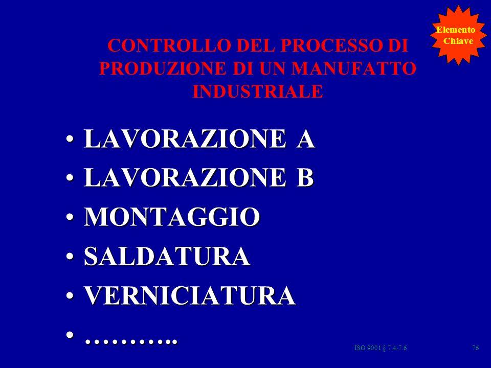 CONTROLLO DEL PROCESSO DI PRODUZIONE DI UN MANUFATTO INDUSTRIALE