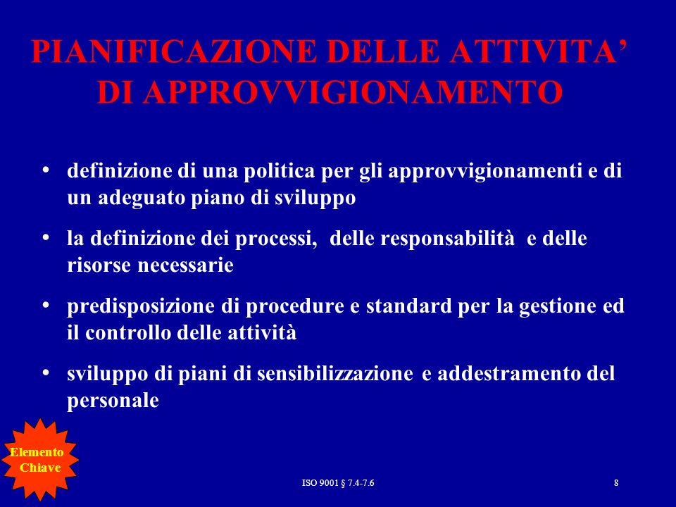 PIANIFICAZIONE DELLE ATTIVITA' DI APPROVVIGIONAMENTO