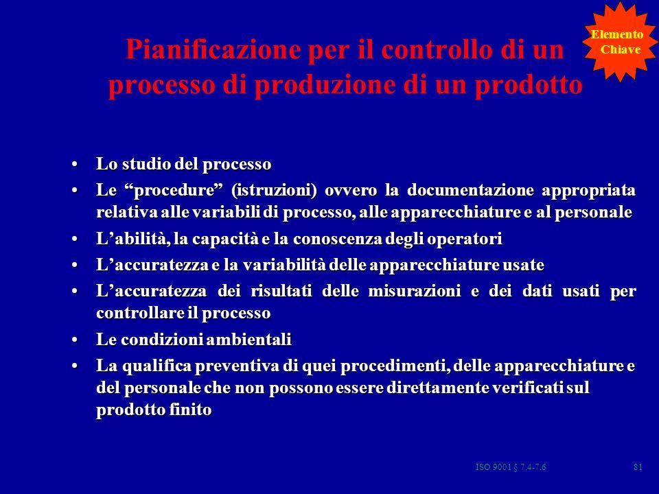Elemento Chiave. Pianificazione per il controllo di un processo di produzione di un prodotto. Lo studio del processo.