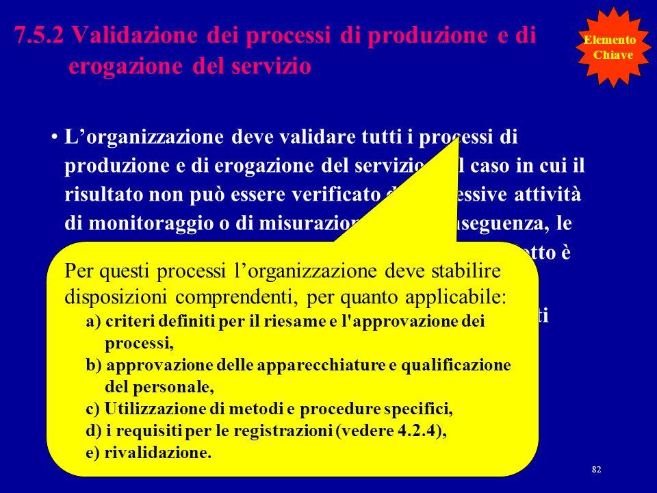 7.5.2 Validazione dei processi di produzione e di erogazione del servizio