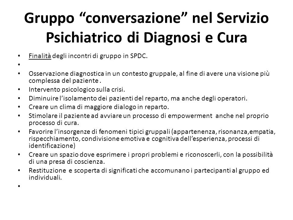 Gruppo conversazione nel Servizio Psichiatrico di Diagnosi e Cura