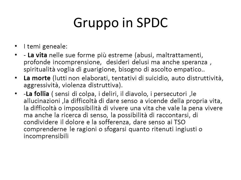 Gruppo in SPDC I temi geneale: