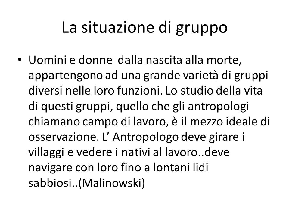 La situazione di gruppo