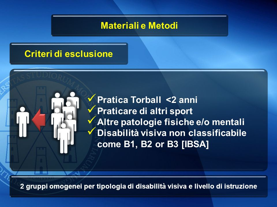 Materiali e Metodi Criteri di esclusione
