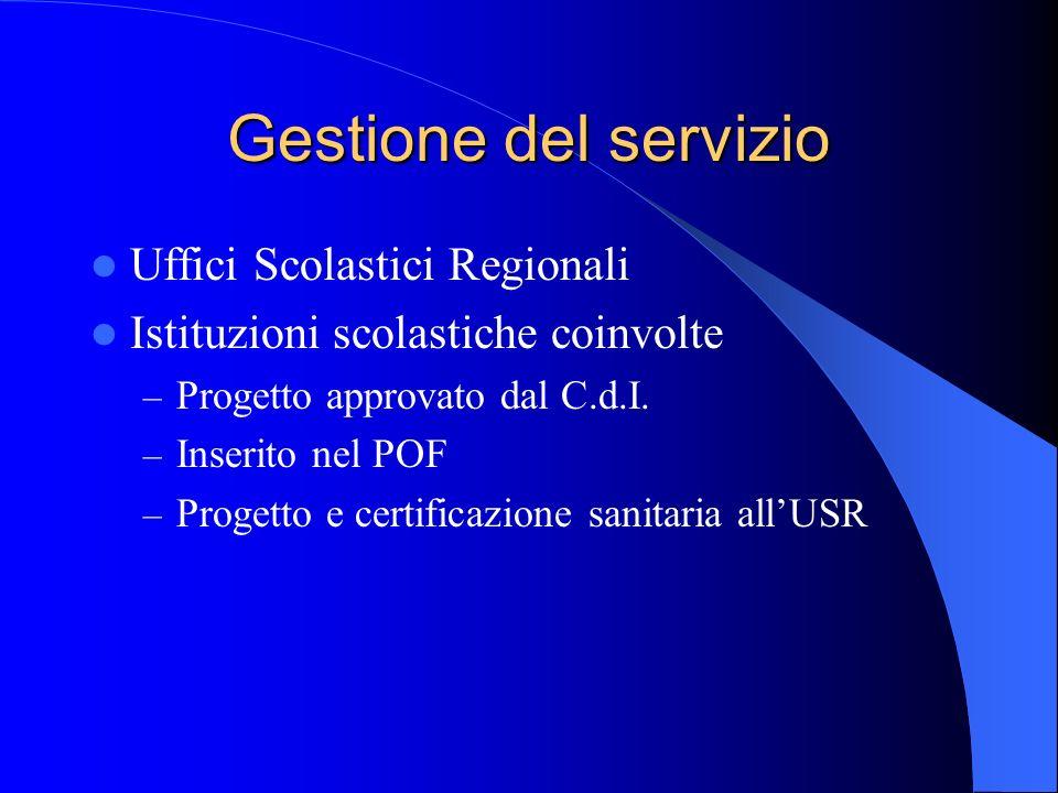 Gestione del servizio Uffici Scolastici Regionali