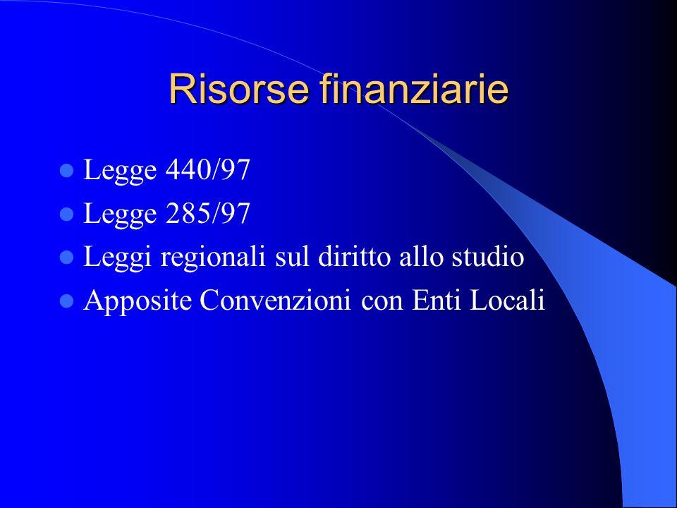Risorse finanziarie Legge 440/97 Legge 285/97