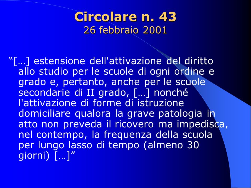 Circolare n. 43 26 febbraio 2001