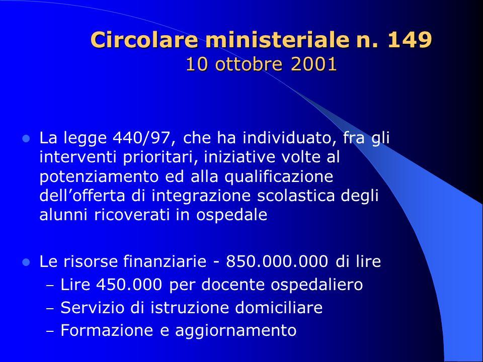 Circolare ministeriale n. 149 10 ottobre 2001