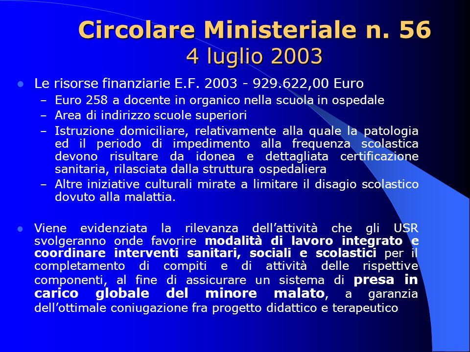 Circolare Ministeriale n. 56 4 luglio 2003