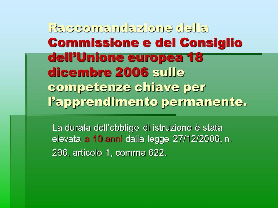 Raccomandazione della Commissione e del Consiglio dell'Unione europea 18 dicembre 2006 sulle competenze chiave per l'apprendimento permanente.