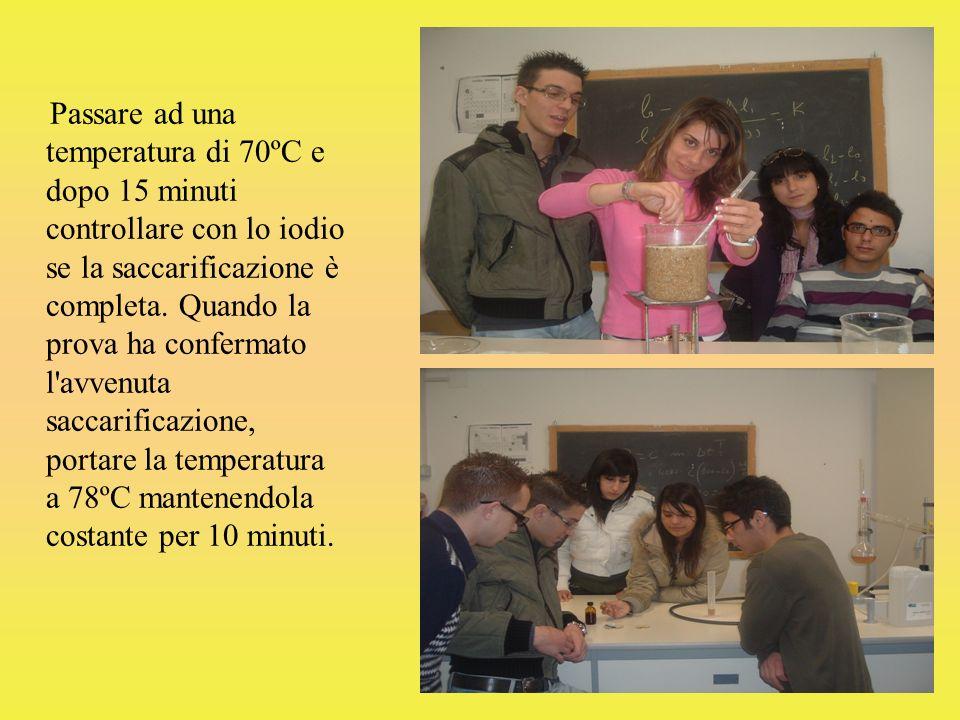 Passare ad una temperatura di 70ºC e dopo 15 minuti controllare con lo iodio se la saccarificazione è completa.
