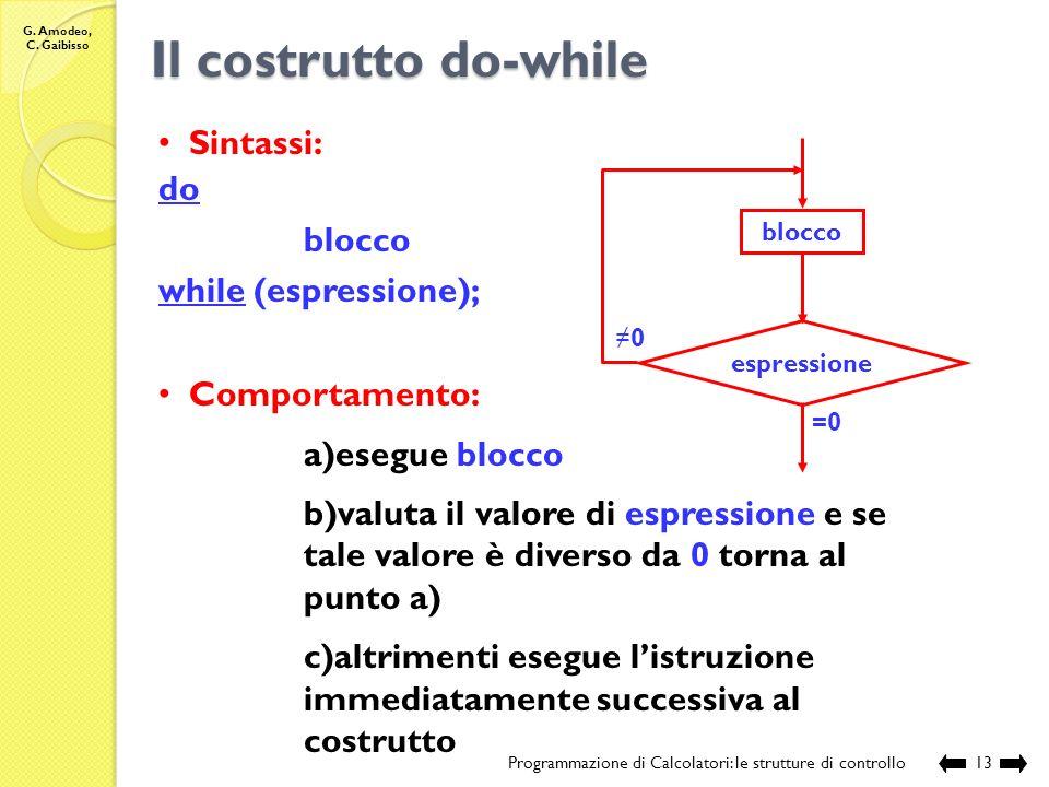 Il costrutto do-while Sintassi: do blocco while (espressione);