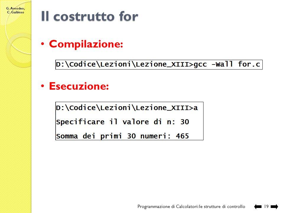 Il costrutto for Compilazione: Esecuzione: