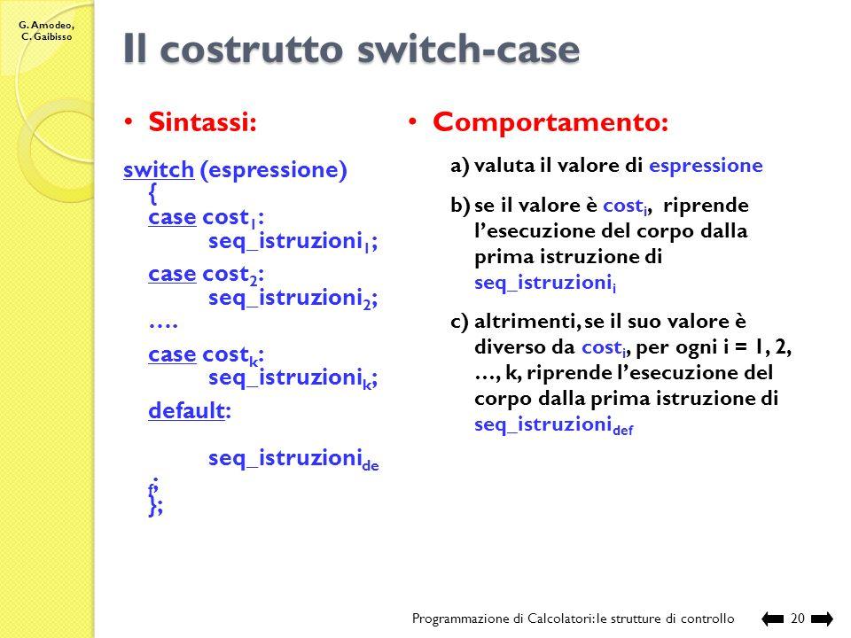 Il costrutto switch-case