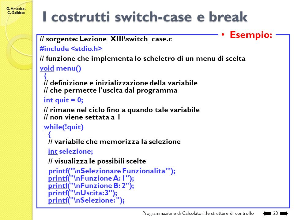 I costrutti switch-case e break