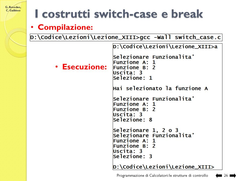 I costrutti switch-case e break