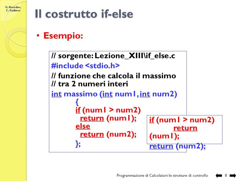 Il costrutto if-else Esempio: // sorgente: Lezione_XIII\if_else.c
