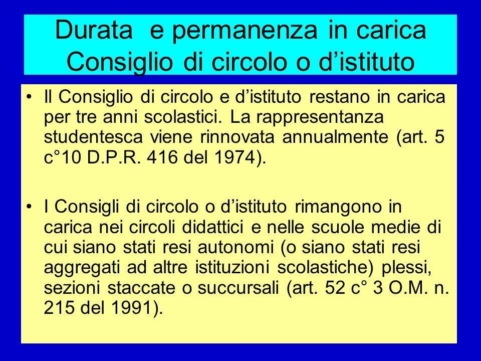Durata e permanenza in carica Consiglio di circolo o d'istituto