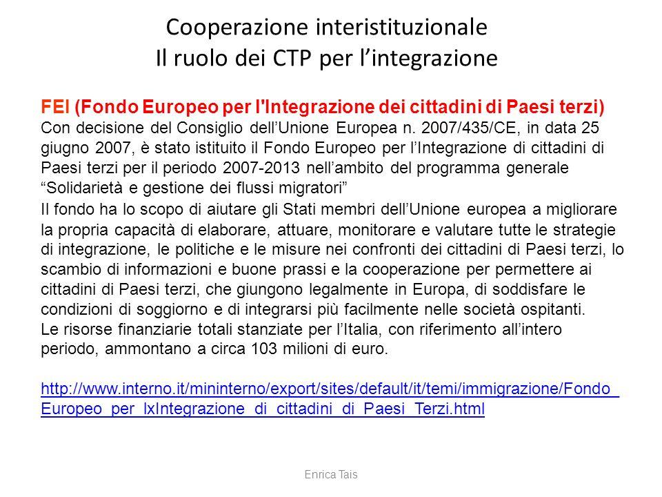 Cooperazione interistituzionale Il ruolo dei CTP per l'integrazione