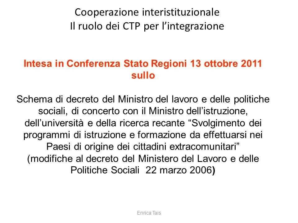 Intesa in Conferenza Stato Regioni 13 ottobre 2011 sullo