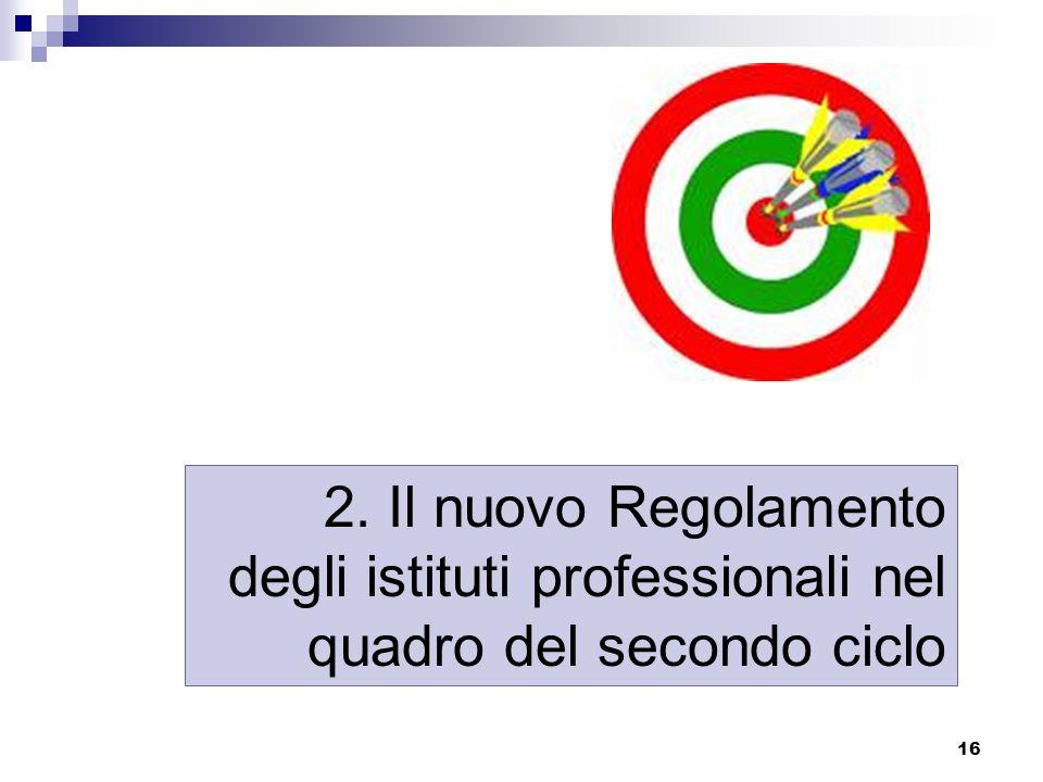 2. Il nuovo Regolamento degli istituti professionali nel quadro del secondo ciclo