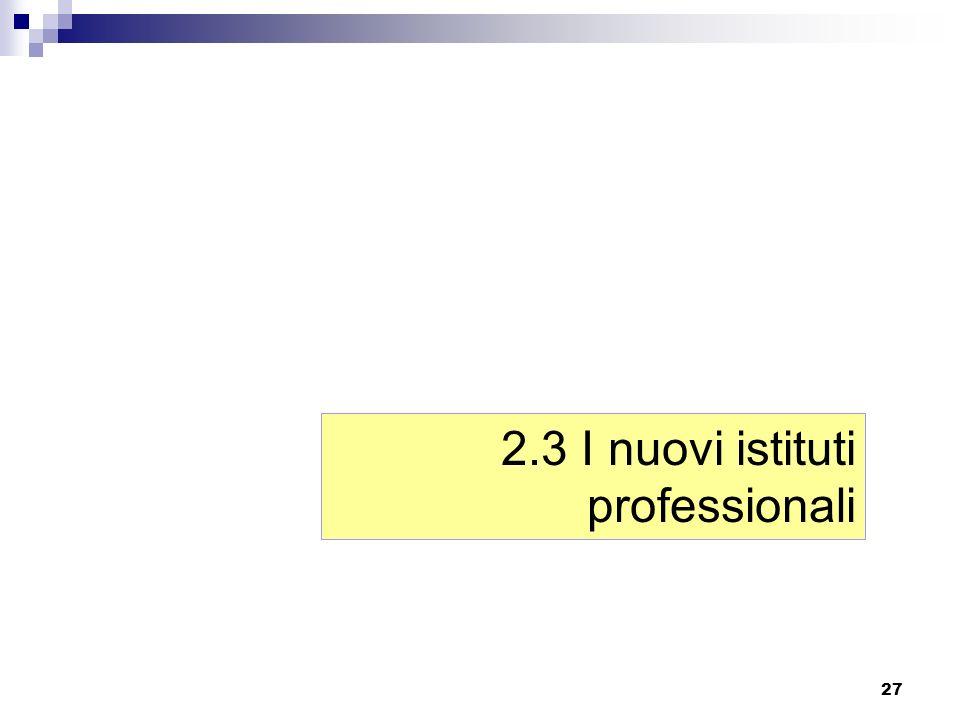 2.3 I nuovi istituti professionali