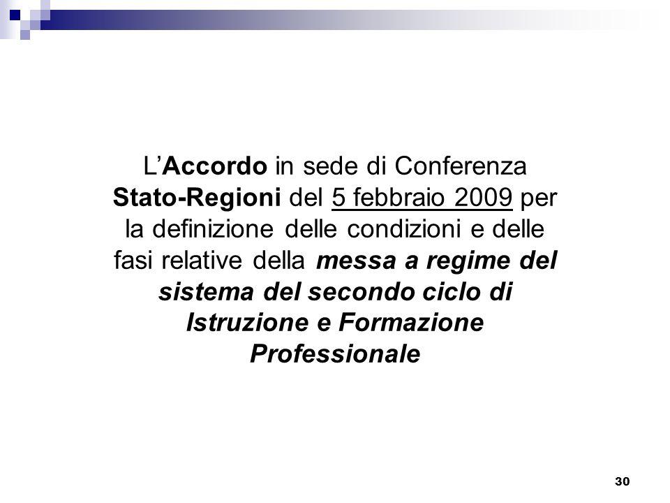 L'Accordo in sede di Conferenza Stato-Regioni del 5 febbraio 2009 per la definizione delle condizioni e delle fasi relative della messa a regime del sistema del secondo ciclo di Istruzione e Formazione Professionale