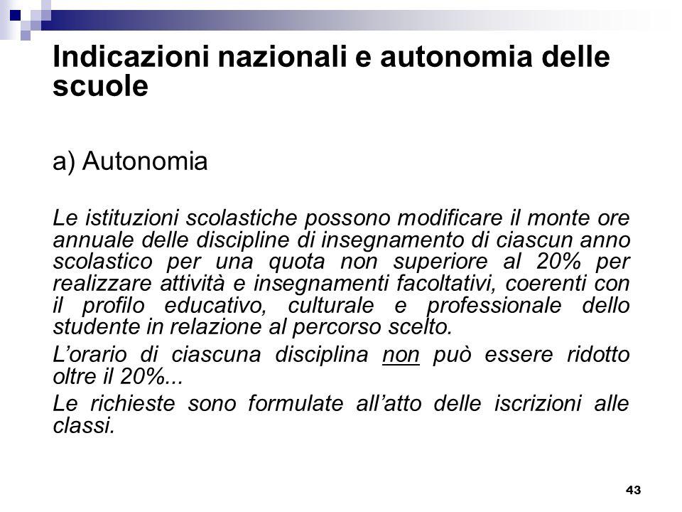 Indicazioni nazionali e autonomia delle scuole