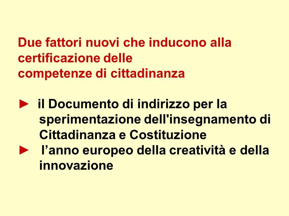Due fattori nuovi che inducono alla certificazione delle competenze di cittadinanza ► il Documento di indirizzo per la sperimentazione dell insegnamento di Cittadinanza e Costituzione ► l'anno europeo della creatività e della innovazione