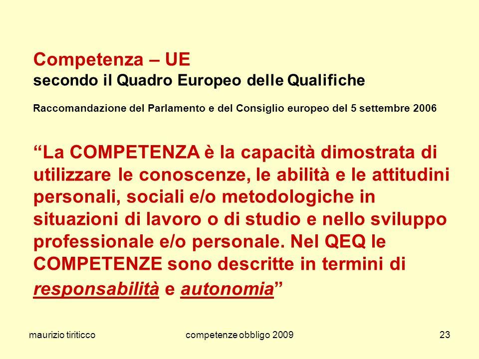 maurizio tiriticco competenze obbligo 2009