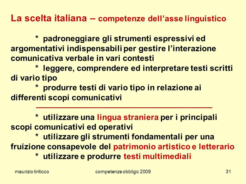 La scelta italiana – competenze dell'asse linguistico