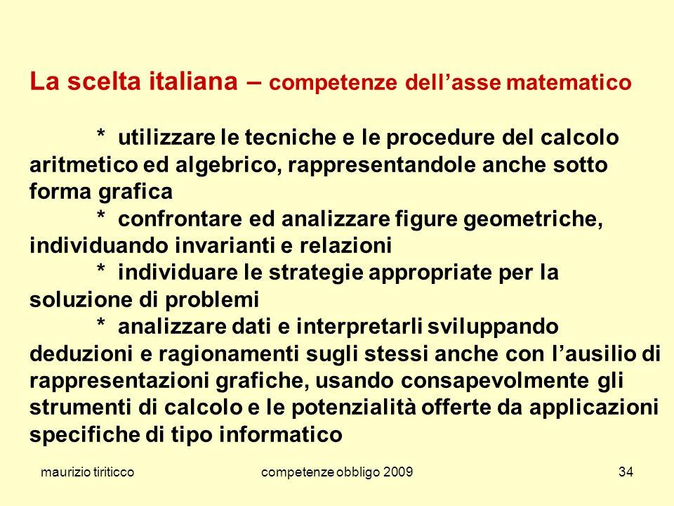 La scelta italiana – competenze dell'asse matematico