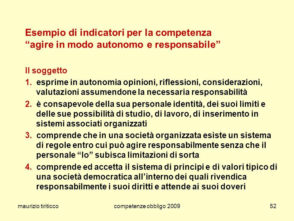 Esempio di indicatori per la competenza agire in modo autonomo e responsabile