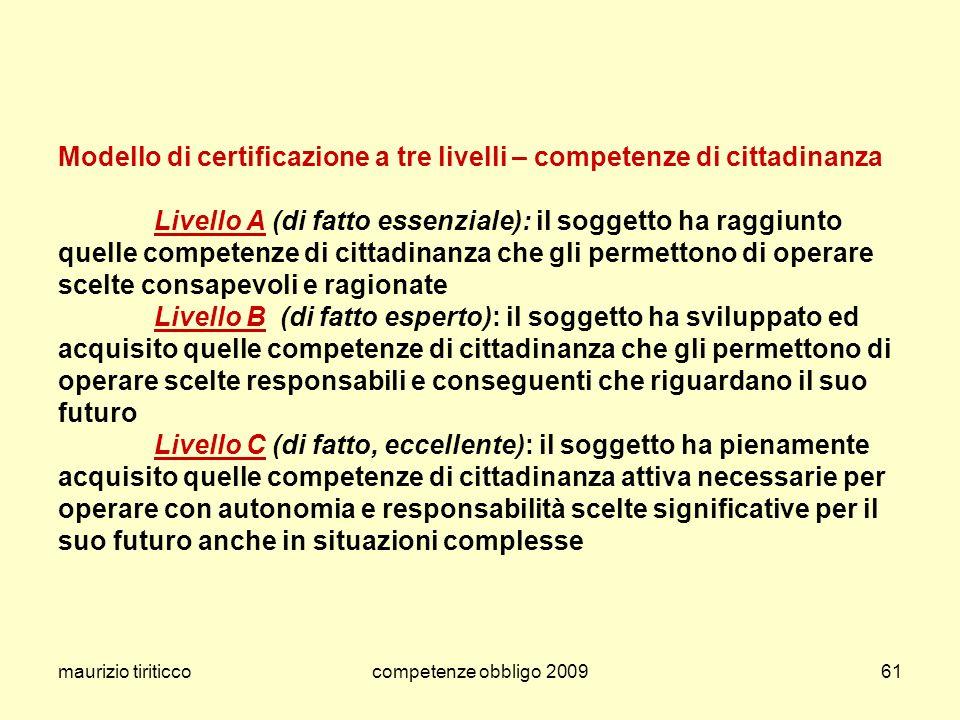 Modello di certificazione a tre livelli – competenze di cittadinanza