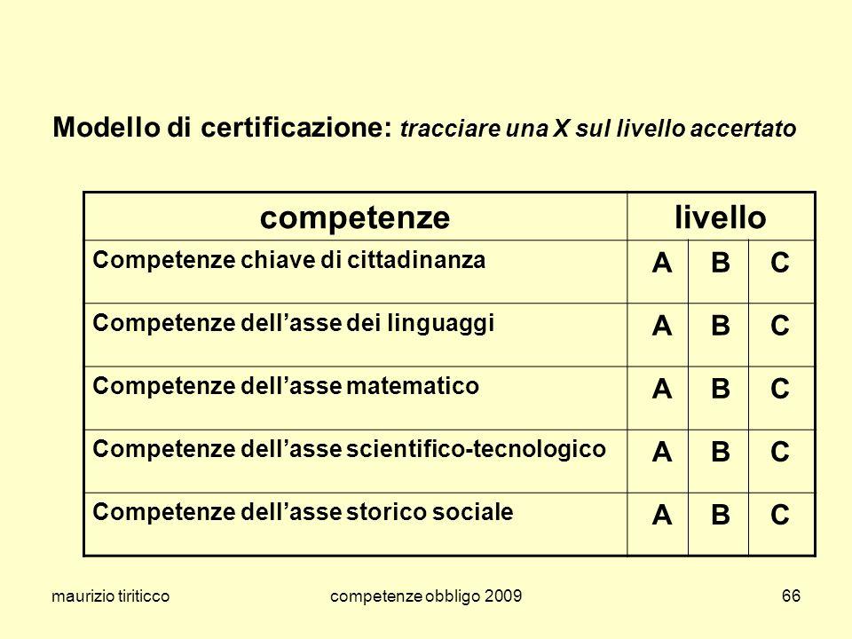 Modello di certificazione: tracciare una X sul livello accertato