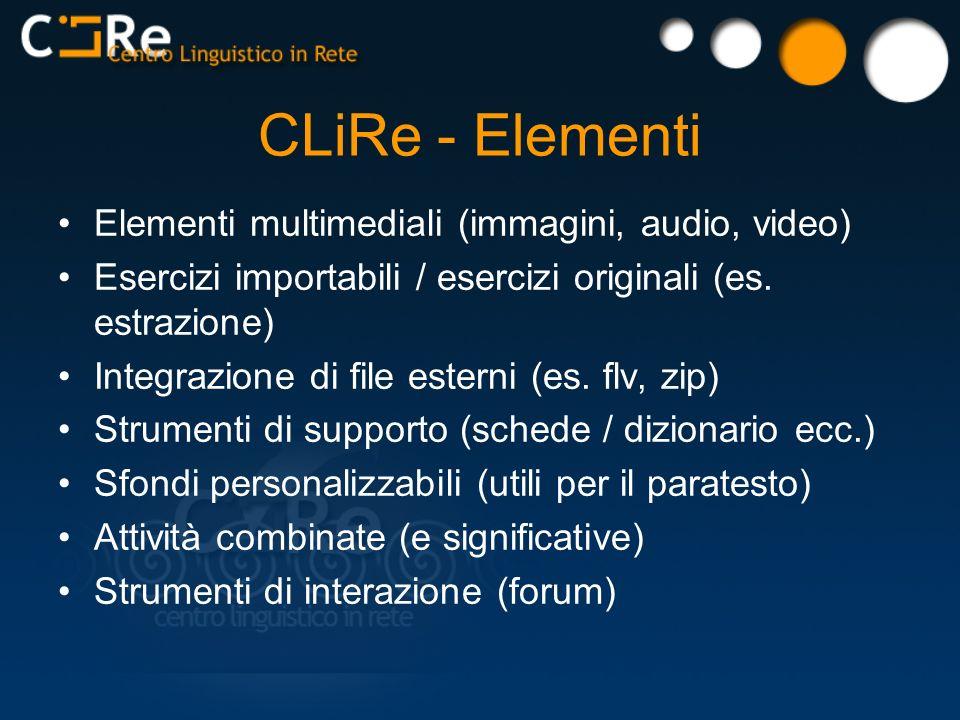 CLiRe - Elementi Elementi multimediali (immagini, audio, video)