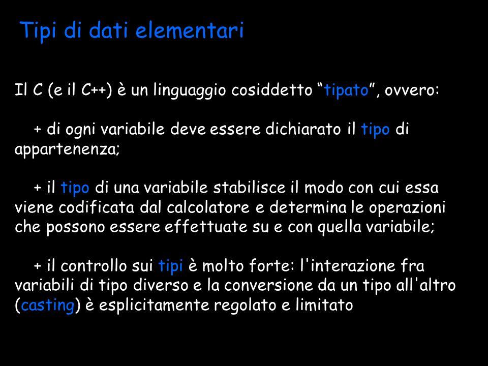 Tipi di dati elementari