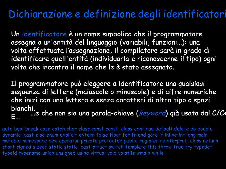 Dichiarazione e definizione degli identificatori
