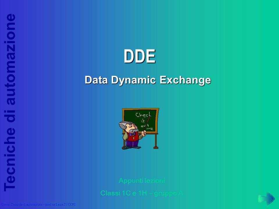 DDE Data Dynamic Exchange Appunti lezioni Classi 1C e 1H – gruppo A