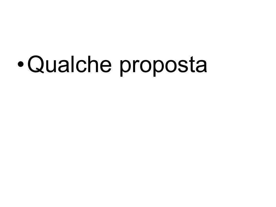 Qualche proposta