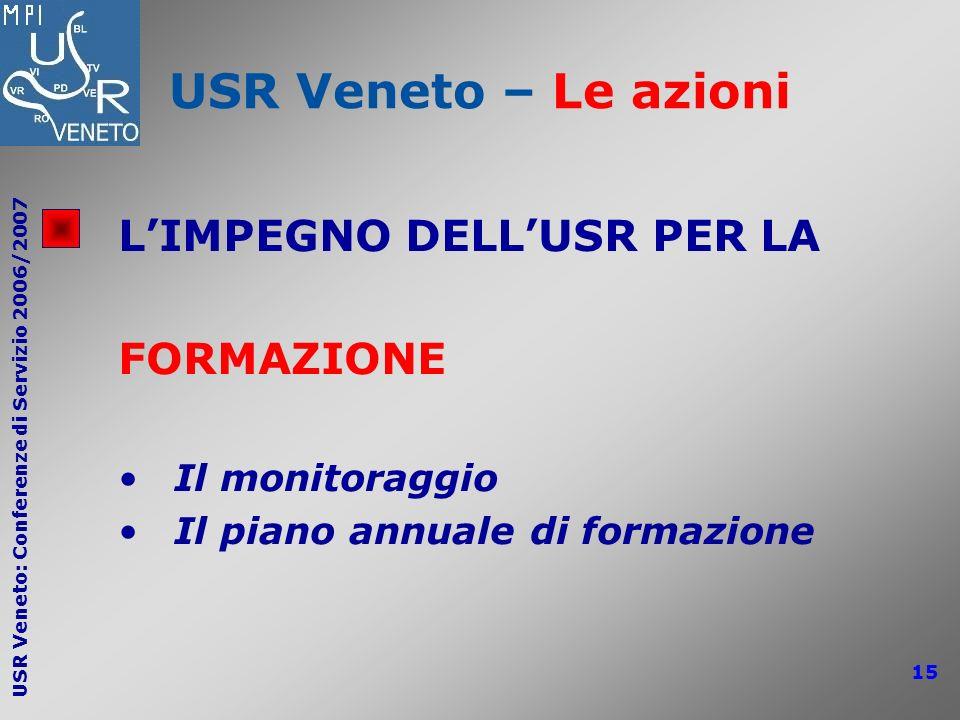 USR Veneto – Le azioni L'IMPEGNO DELL'USR PER LA FORMAZIONE