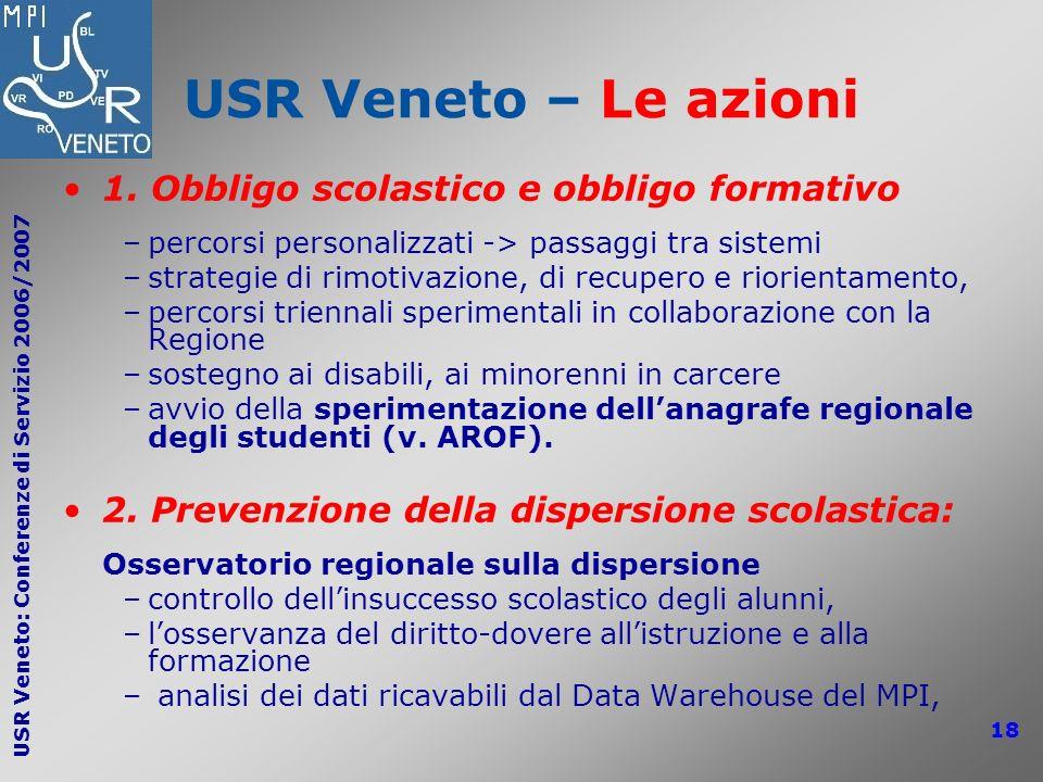 USR Veneto – Le azioni 1. Obbligo scolastico e obbligo formativo