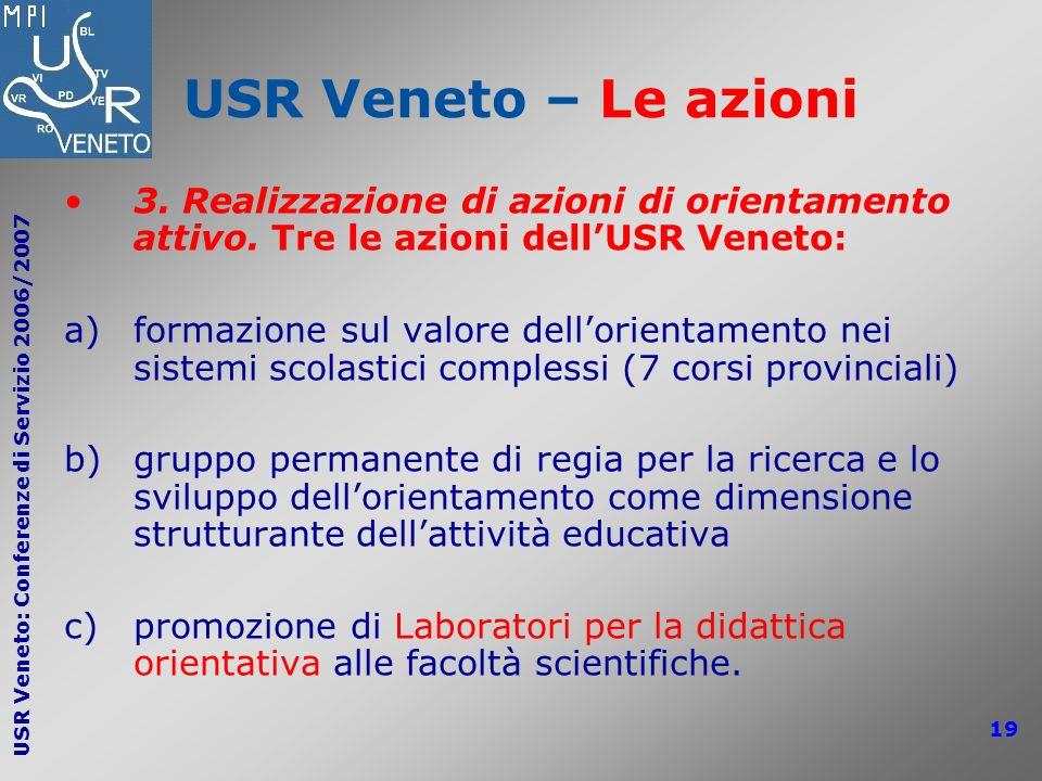 USR Veneto – Le azioni 3. Realizzazione di azioni di orientamento attivo. Tre le azioni dell'USR Veneto: