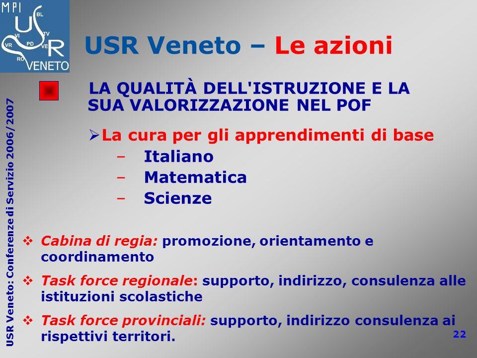 USR Veneto – Le azioni LA QUALITÀ DELL ISTRUZIONE E LA SUA VALORIZZAZIONE NEL POF. La cura per gli apprendimenti di base.